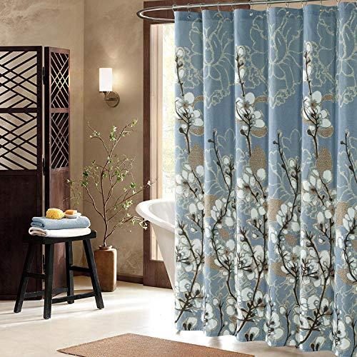 DS BATH Hanakotoba Blue Shower Curtain,Flower Polyester Fabric Shower Curtain,Plants Shower Curtains for Bathroom,Floral Bathroom Curtains,Print Waterproof Shower Curtain,72