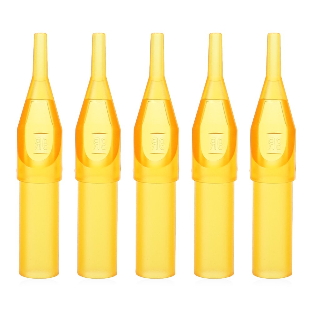 50pcs Yellow Translucent Sterile Disposable Tattoo Nozzle Tips Needle Tube Naisidier