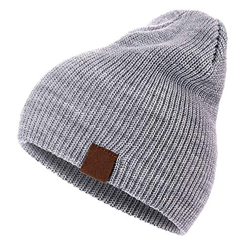7 Colors PU Letter True Casual Beanies for Men Women Girl Boy Warm Knitted Winter Hat Solid Hip-hop,Gray