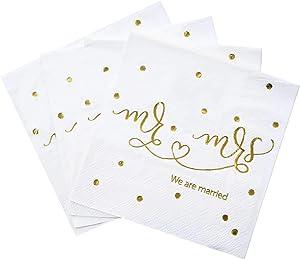Gexolenu Mr & Mrs Wedding Napkins Gold Foil, Dessert Disposable Beverage Cocktail Paper Napkins for Wedding Shower Party Decorations and table decorations Supplies, 100 pcs