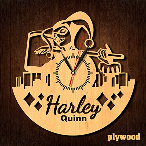 Female Superheroes And Villains Costume Ideas (Harley Quinn Supervillain Eco Friendly Wood Wall Clock - Get unique home room wall decor - Gift ideas for men and women – DC Comics Unique Art Design)