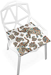 SLHFPX Seat Cushion Elephant Paisley Boho Tribal Chair Cushion Offices Butt Chair Pads Square Car Mat for Student