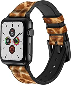 CA0051 Giraffe Skin Leather & Silicone Smart Watch Band Strap for Apple Watch iWatch Size 38mm/40mm