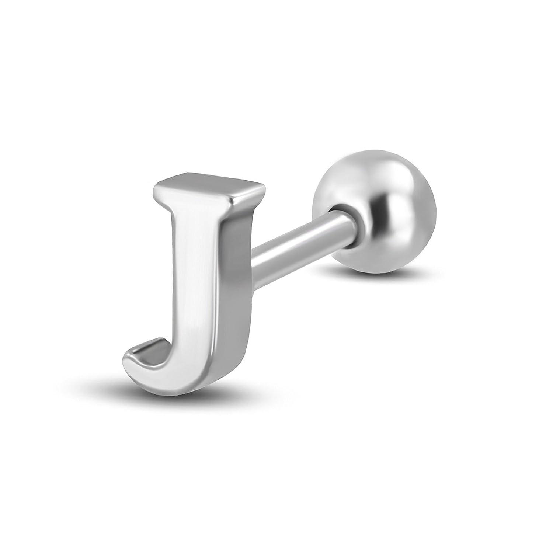 Pure316 Unisex 4mm   G-1.2mm Letter J Tragus/ Cartilage Barbell Stud in 316L Stainless Steel - JK-QEA009 Leviev Ltd.