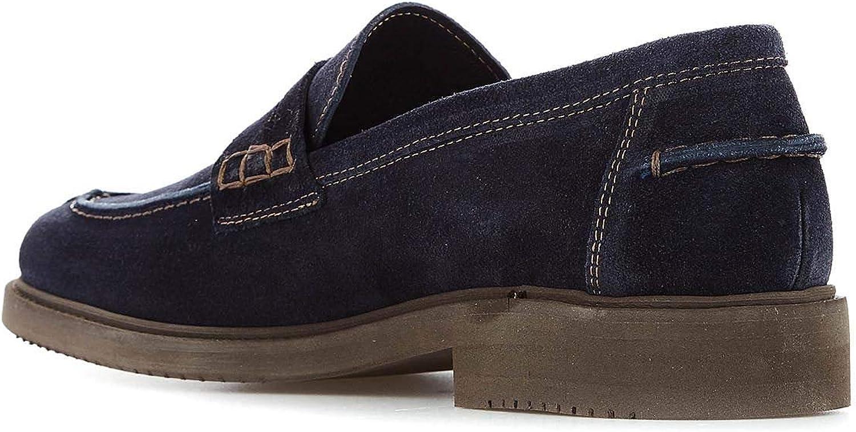LEREWS Mens Track9blue Blue Suede Loafers