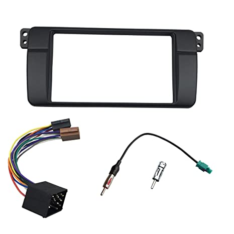 Maxiou Double Din Radio Installation Fascia e46 Facia Dash Bezel Kit DVD Mask (E46180ISO)