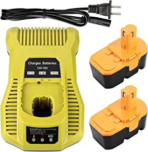 Energup Replacement 2Pack 3.5Ah Ryobi 18V Battery ONE+ Ryobi P100 P101 Cordless Ryobi 18V Batteries + Ryobi P117 One+ 18 Volt Dual Chemistry IntelliPort Charger Li-ion Ni-cad Battery Charger