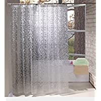 EurCross Semi-Transparent PEVA White Shower Curtains Mildew Proof and Water-Repellent Bathroom Curtains