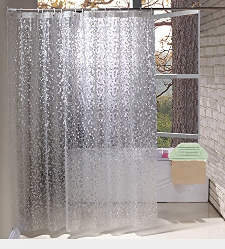 Shower Curtains By Eurcross EVA With Crystal Stone Waterproof And Mildew Resistant Semi Transparent Bathroom Curtain36W X 72L90