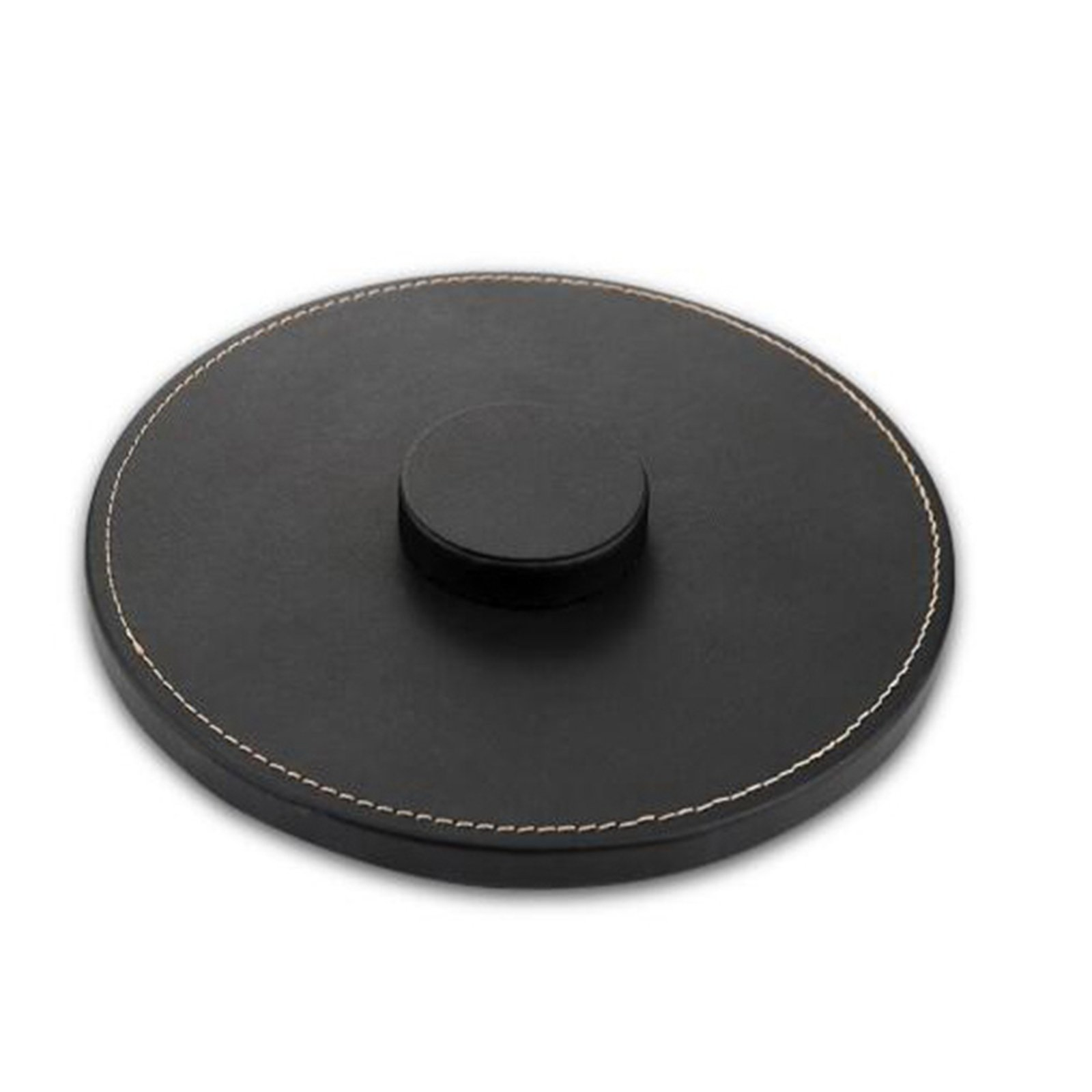 HOMEPOD Leather Stand, XHS Natural Leather Anti-slip Protective Coaster pad holder Mount for Apple HOMEPOD Intelligent Speaker (Black)