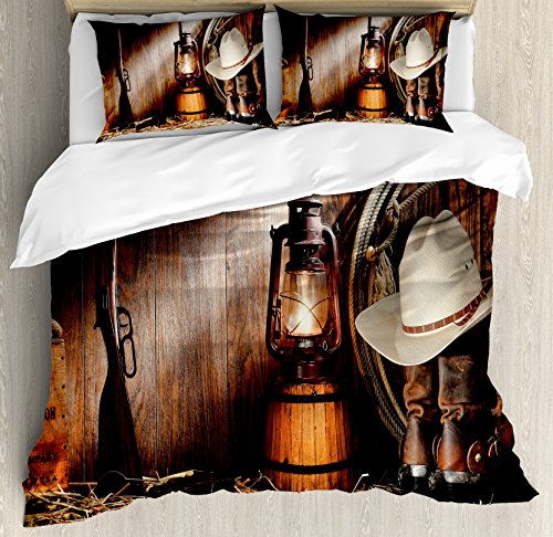 Western Duvet Cover Set by Ambesonne, Cowboy Gear White Hat Boots Rifle Gun Vintage Barn Kerosene Oil Lantern, 3 Piece Bedding Set with Pillow Shams, Queen / Full, Dark Brown and Beige by Ambesonne
