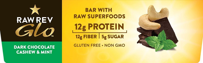 Amazon.com : Raw Rev Glo Vegan, Gluten-Free Protein Bars - Dark Chocolate Cashew Mint 1.6 ounce (Pack of 12) : Grocery & Gourmet Food