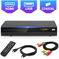 DVD Player for TV, All Region Free DVD CD Discs Player with HDMI & AV Output (HDMI & AV Cable Included), HD1080P Supported, Built-in PAL/ NTSC, Coaxial Port, USB Input, Remote Control