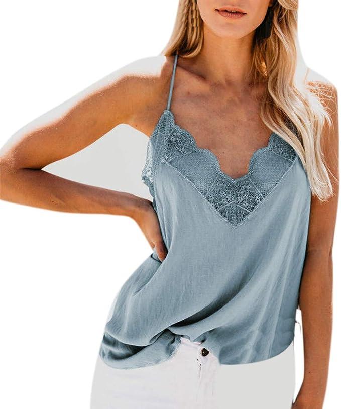 YEBIRAL Camisetas Tirantes Mujer Verano Algodón CóModo Básica Encaje Cuello en V Suelto Elegantes Blusas T-Shirt Camisas Tops (XL, Azul): Amazon.es: Ropa y accesorios