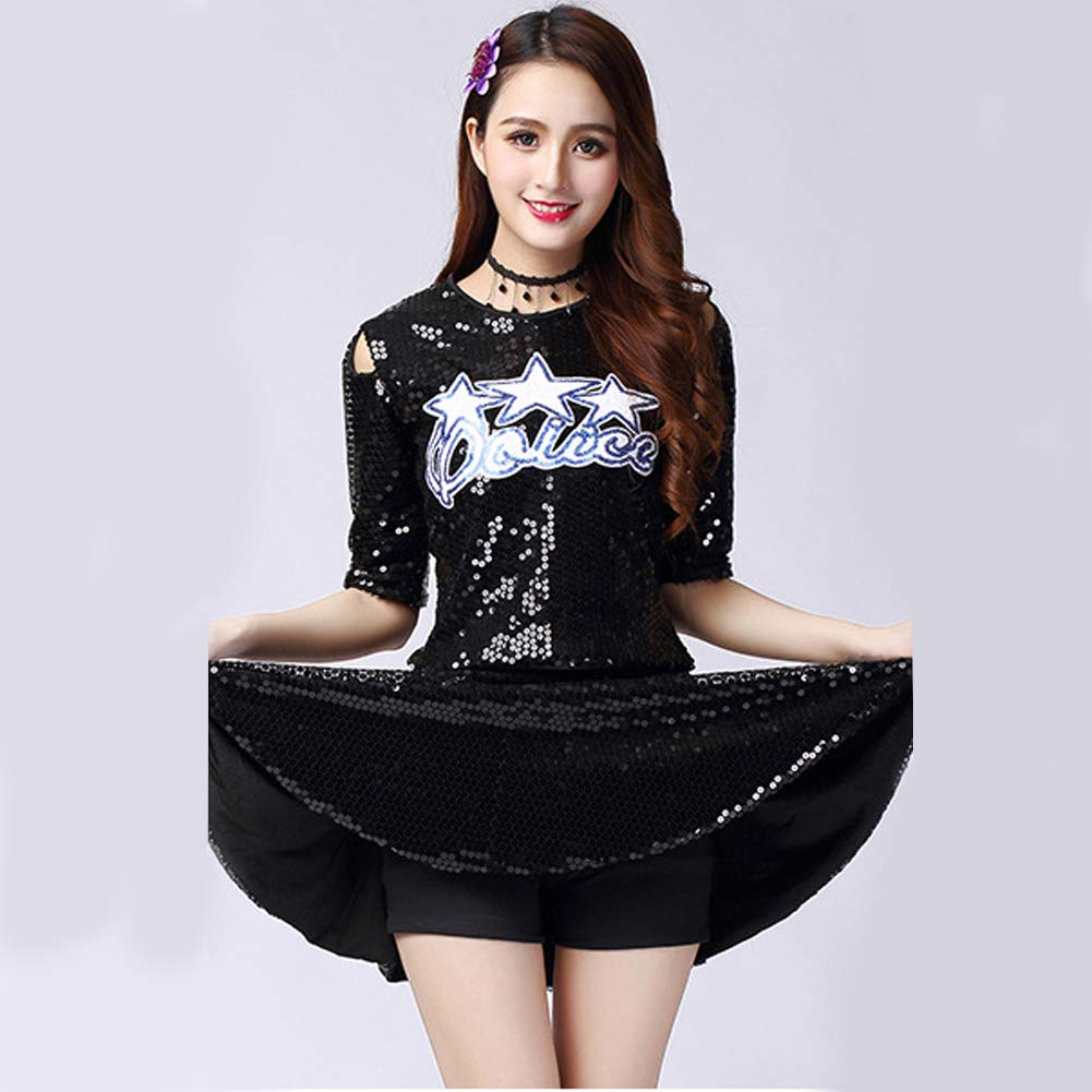 2a9207c0be76 Cheerleading Ladies Sequins Modern Jazz Top Skirt Set High School Uniforms  Clothing Performance Outfits Show Competition ...
