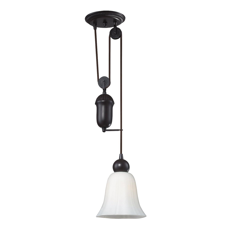 elk 8inch farmhouse 1light pendant oiled bronze with white glass ceiling pendant fixtures amazoncom