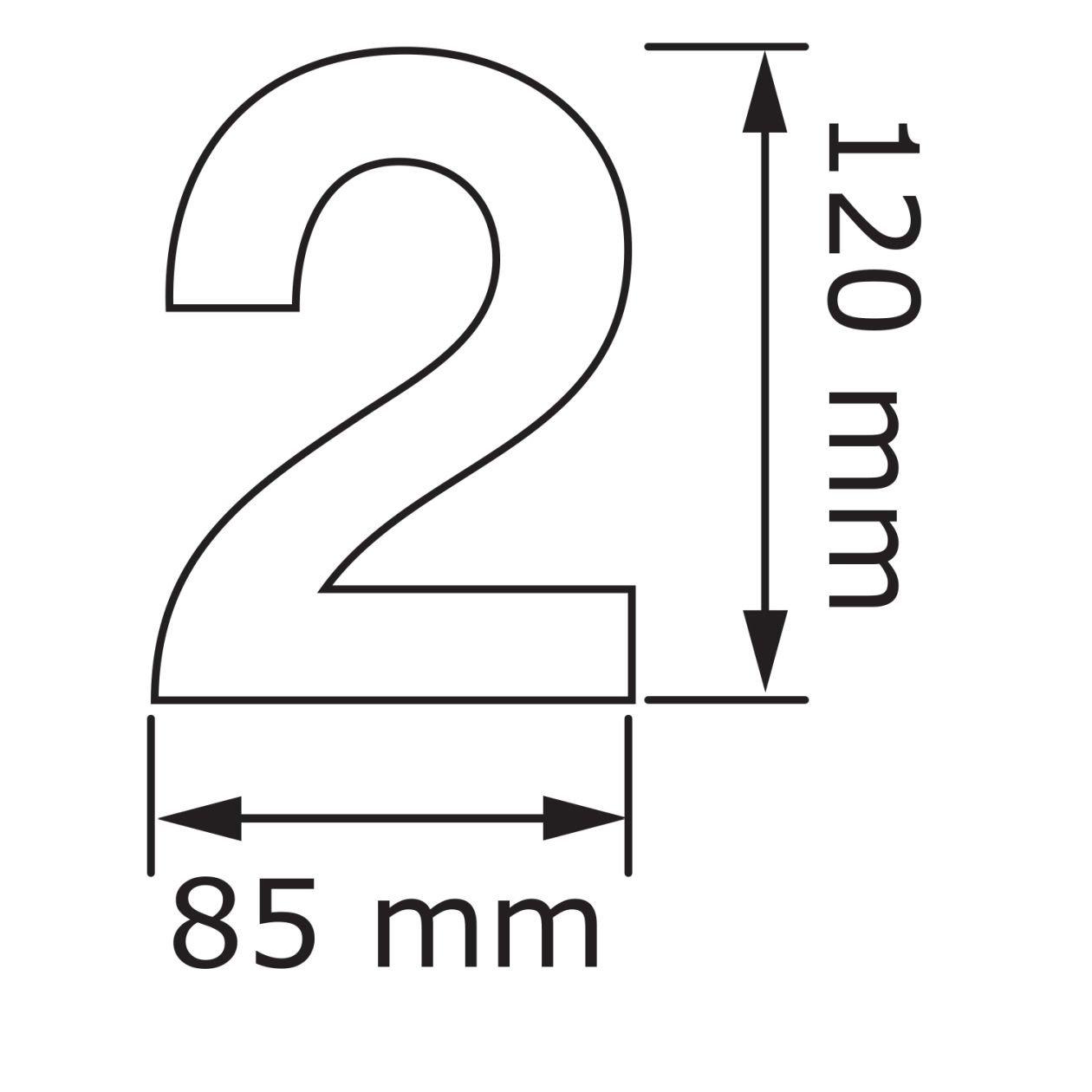 Hausnummer 2 Design Hausnummer aus Edelstahl in Schwarz
