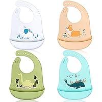 ABirdon Silikonhaklappar för spädbarn, 4-pack vattentäta babyhaklappar med upprullad matfångare, lätt att rengöra…