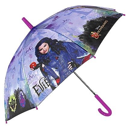 Paraguas Disney Descendants Niña Morado - Paraguas Chica Joven Los Descendientes Estampado Evie - Antiviento Seguro de Fibra de Vidrio Automatico - 7+ ...