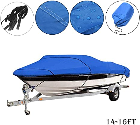 Heavy Duty Speedboat Boat Cover 210D 11-13ft Waterproof Fish Ski V-Hull Dinghy