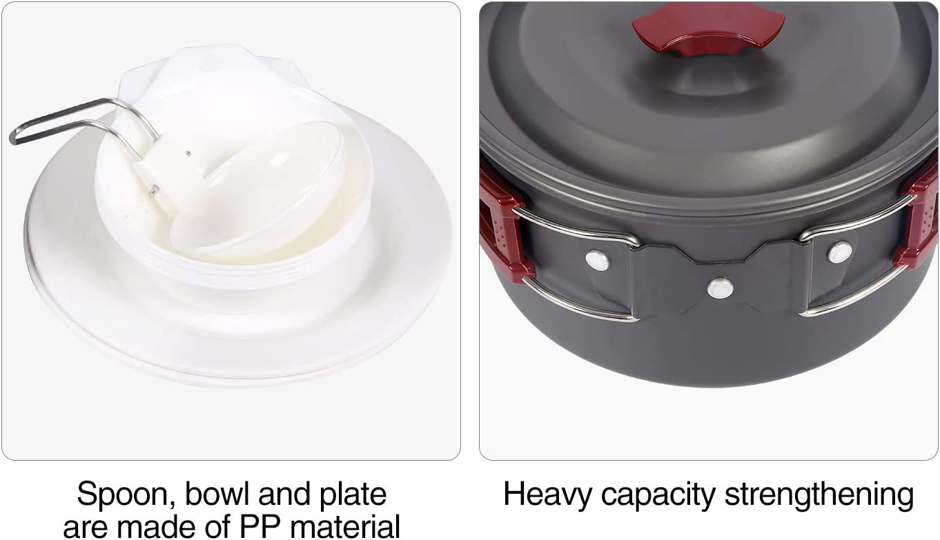 Aluminum Lightweight Folding Camping Pots and Pans Set for 1//2//3//4 Person REDCAMP 9//12//18//23 PCS Camping Cookware Mess Kit with Kettle FDA Approved
