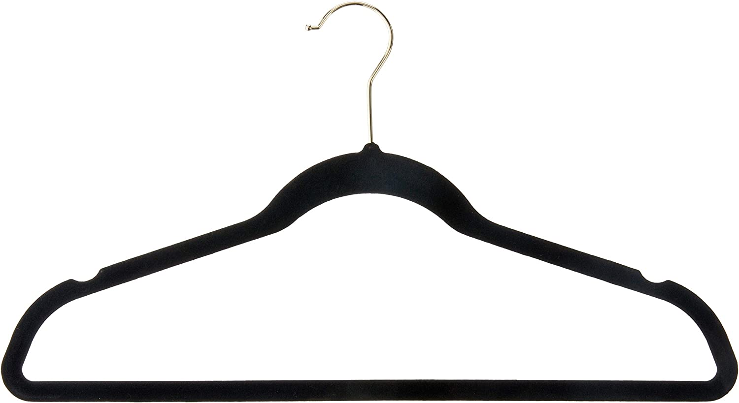 """Inspired Living by Mesa Inspired Living Non-Slip Heavy Duty (35 Pack) Better Quality Holds Up to 22 Lbs-Each is 2.8 Oz / .20"""" Thick in Black/Gold HANGERS -VELVET- (80 Gm), ("""