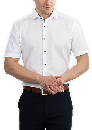 bcbd6a200051 eterna Herren Hemd Kurzarm Slim Fit 8585 00 G140 Weiß  Amazon.de  Bekleidung