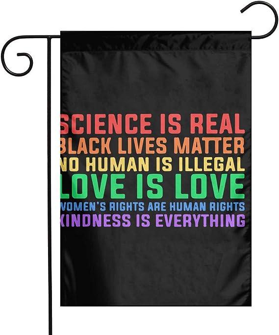 Q23dkz Sports Science Is Real Black Lives Matter Spring Gartenflagge Thanksgiving Hof Outdoor Dekoration 12 X18 Weiß Garten