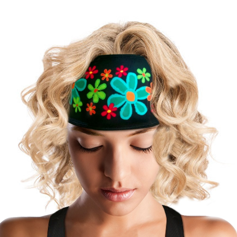 ArtSmackedByCherTM Wide Flower Sports Headband for Women. Moisture Wick Absorbs Sweat. A Polyester/Spandex Athletic Sportsband, Non-Slip, Cooling, Fashionable. Great for Gym, Running, Yoga, Crossfit. by ArtSmackedByCher(TM) (Image #1)