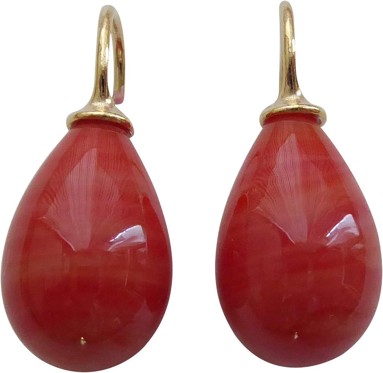 Pendientes de cristal rojo coral con forma de gota de plata de ley chapada en oro de moda elegante y moderna hecha a mano Heide Heinzendorff