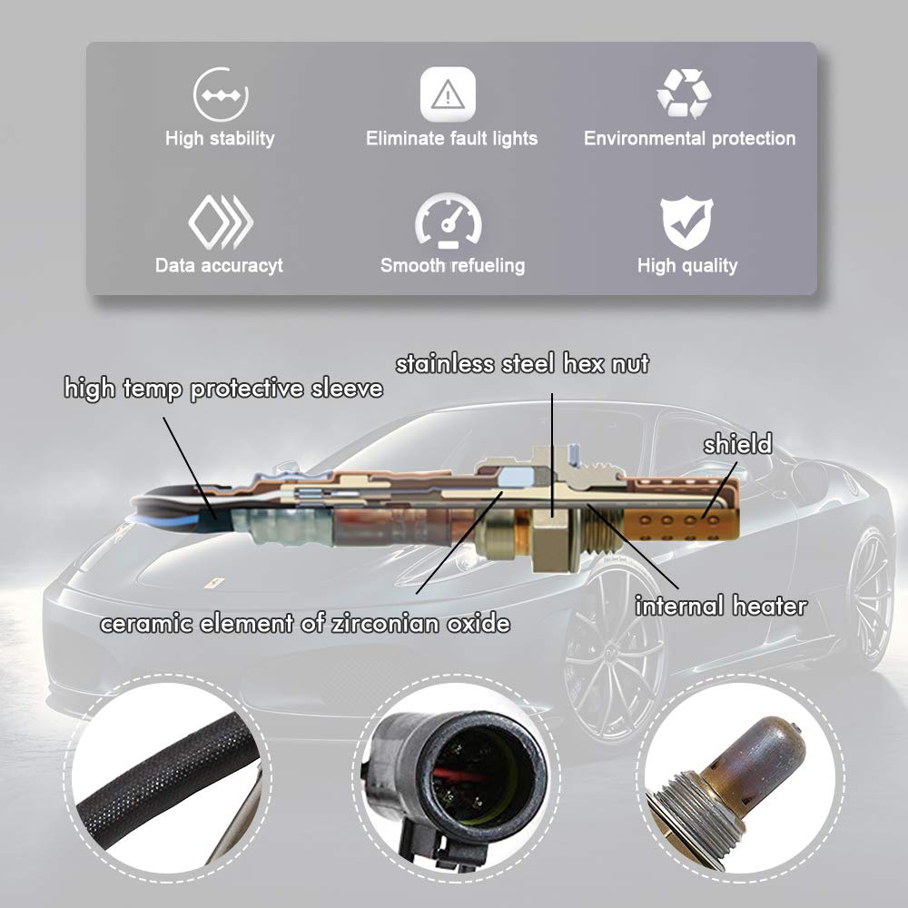 Heated Oxygen Sensor for Mazda Mercuty Aston Martin Ford Jaguar Lincoln Upstream and Downstream Replacement Bosch 15716 AP25716X