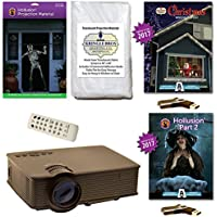AtmosFearFx Christmas and Halloween Digital Decoration Kit includes 1900 Lumen Projector, Hollusion (lg) + Kringle Bros Projection Screens, Christmas and Hollusion 2 Compilation Videos on USB