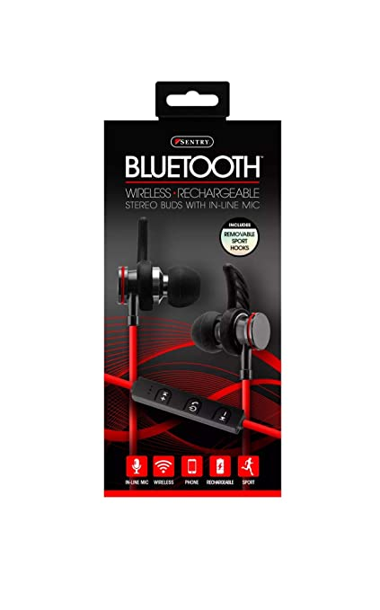 6b06407de8a Amazon.com: Sentry Bluetooth, Rechargeable, Metal Ear Buds with Built In  Microphone, BT250: Home Audio & Theater