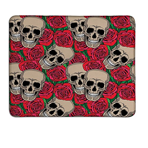 Rose mouse pad Graphic Skulls and Red Rose Blossoms Halloween Inspired Retro Gothic Patterncustom mouse pad Vermilion Tan Green -