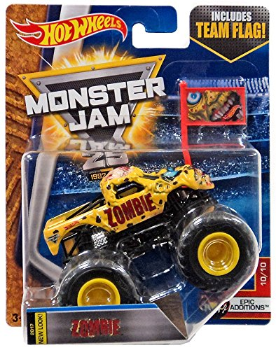 2017 Hot Wheels Monster Jam 1:64 Scale Truck with Team Flag - Zombie