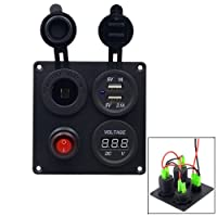 TurnRaise 12V Switch Panel with LED Voltmeter + Cigarette Lighter + Dual USB Port Charger + ON/OFF Button 4 Hole Panel for Car Boat Marine Truck Motorcycle RV ATV Vehicles GPS Mobile Phone Camera
