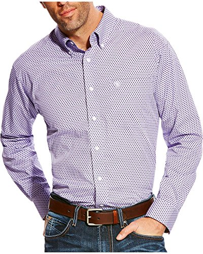 Ariat Men's Zilverton Classic Fit Wrinkle Free Print Long Sleeve Shirt Purple XX-Large