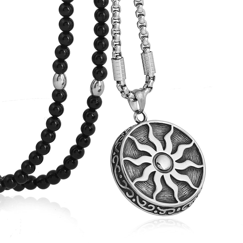 "Men Stainless Steel Sun God Apollo Pendant Necklace Black Agate Stone Chain 26"""