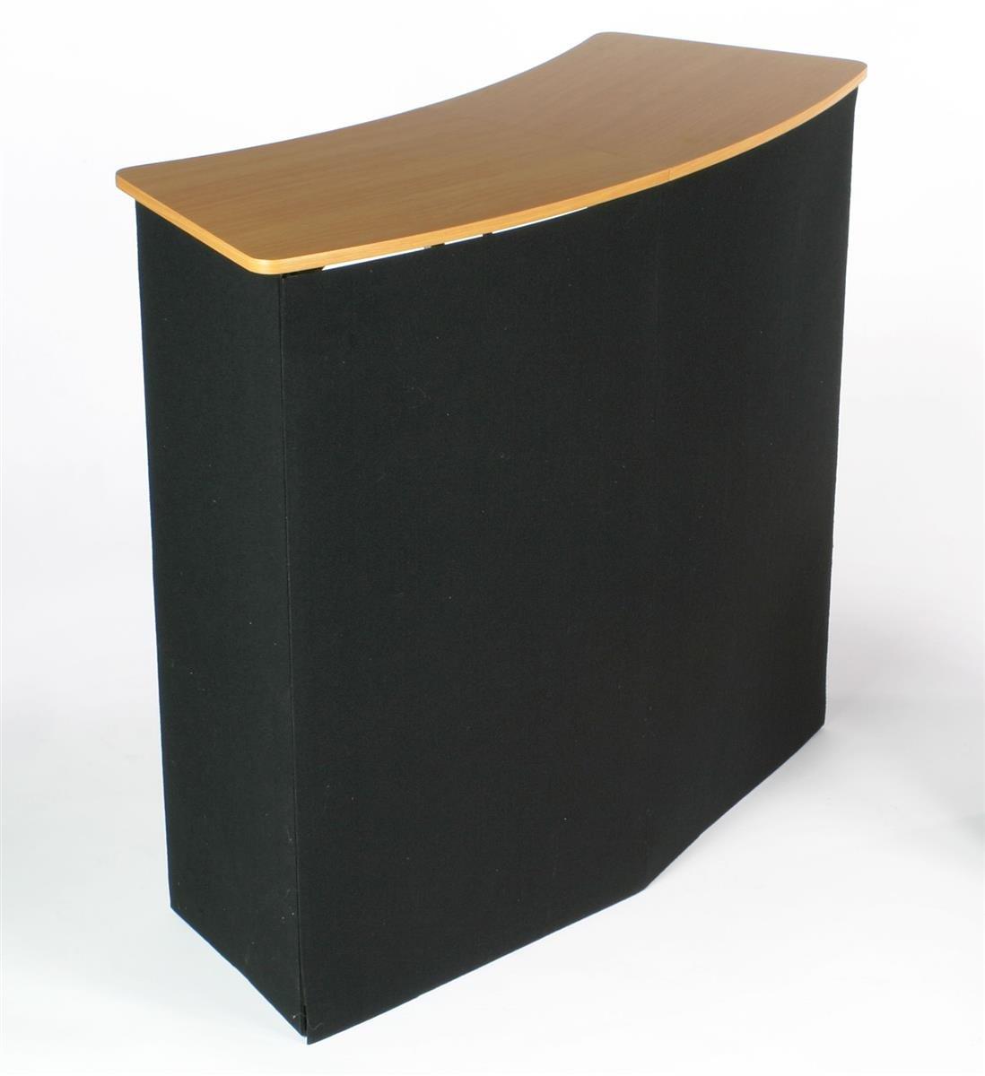 Displays2go Portable Trade Show Display Counter Kiosk with Pop-Up Design, 3.5-Feet Wide, Black Velcro-Receptive Fabric (CNTPUVLBLK)