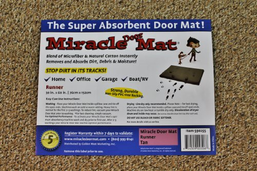Miracle Door Mat (30''x60'', Tan) by Golden West Marketing