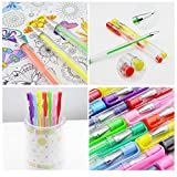 Caliart 100 Gel Pens Coloring Pens Set for Adult Coloring Books Scrapbooking Drawing Writing Including Glitter Metallic Pastel Neon Swirl Glitter-Neon Classic Pens