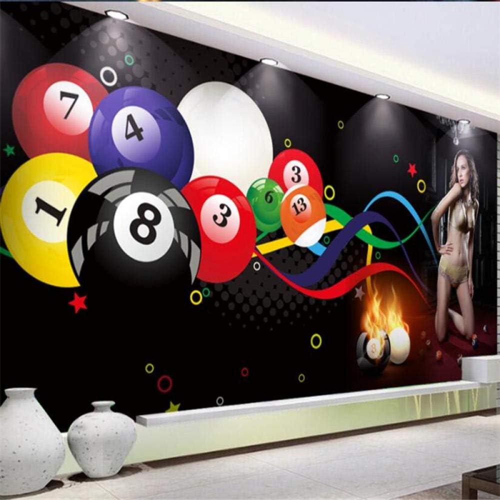 Sucsaistat Mural De Papel Tapiz 3D Bola De Billar Sexy Club De Belleza Gimnasio Herramientas Fondo Decoración De La Pared Pintura,300 * 210Cm: Amazon.es: Hogar