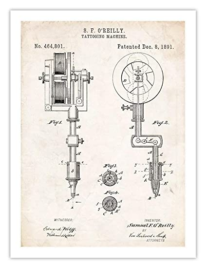 Enjoyable Amazon Com Tattooing Machine Invention 18X24 Patent Art Poster Wiring Cloud Intapioscosaoduqqnet