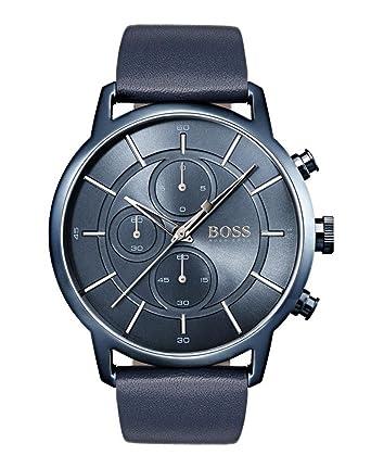 Hugo BOSS Reloj Cronógrafo para Hombre de Cuarzo con Correa en Cuero 1513575: Amazon.es: Relojes