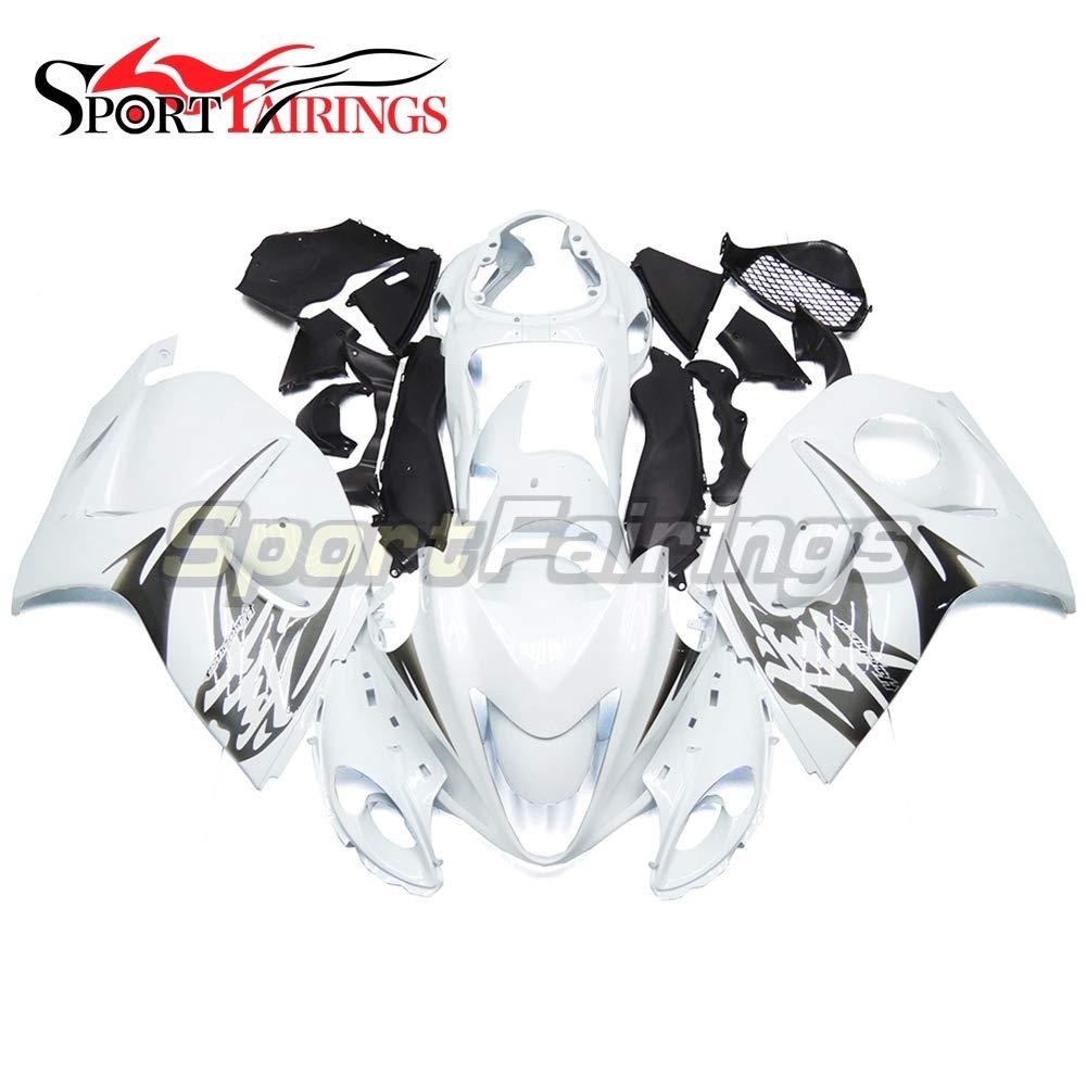 SPMOTO オートバイフルカウルフィットスズキスズキ gsx-r1300 gsx-r の GSXR 1300 はやぶさファルコン 2008 09 10 11 12 13 14 15 ホワイトブラックフルカウリング   B07F3VHKJS