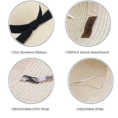 Wide Brim Beach Straw Sun Hat for Womens Travel Packable Cap with Summer Beach Chin Strap by FURTALK (Image #4)