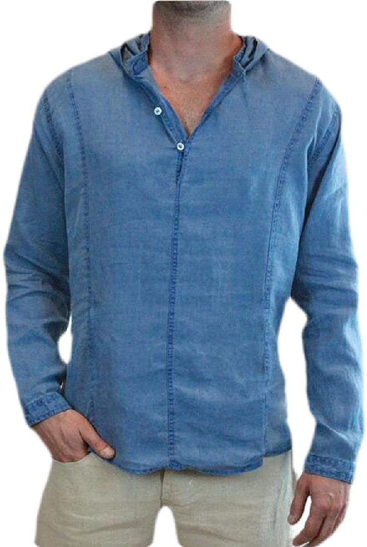 Domple Men Solid Baggy Long Sleeve Casual Button Front Shirts