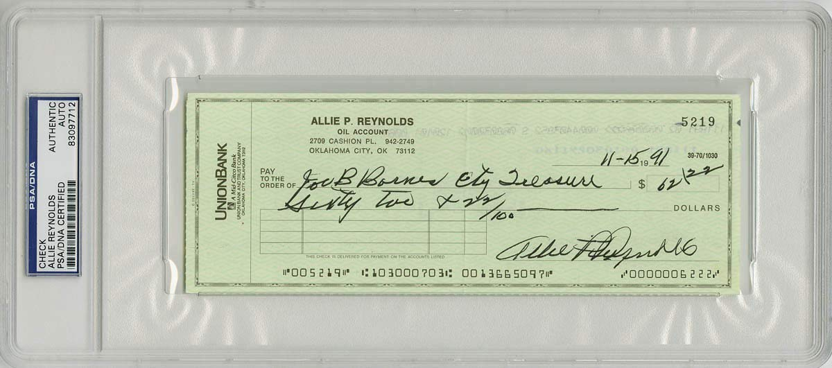 Allie Reynolds Autographed Signed/Encapsulated Check New York Yankees PSA/DNA Authentic Signature