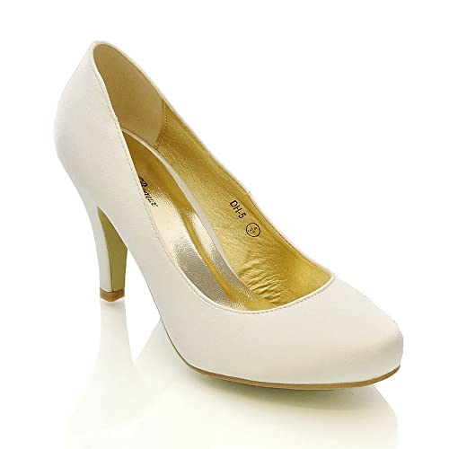 1061e62475d7d3 WOMENS WEDDING MID HEEL LADIES BRIDAL WHITE IVORY PARTY PROM HEELS COURT  SHOES SIZE 3 4