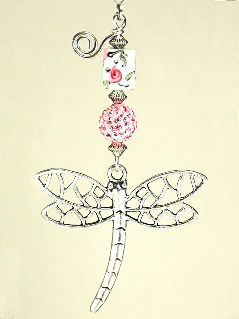 Beautifully Detailed Silver Metal Openwork Dragonfly with Pink Rhinestone & Rose Art Glass Ceiling Fan Pull Chain by Trace Ellements